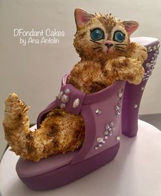 Gatito y zapato de fondant. DFondant Cakes