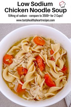 Easy Homemade Low Sodium Chicken Noodle Soup – Instant Pot from scratch! Always a quick, healthy, favorite comfort food. Sodium Free Recipes, Low Salt Recipes, Chicken Noodle Soup, Chicken Soup Recipes, Meal Recipes, Healthy Heart, Heart Healthy Recipes, Low Sodium Soup, Kidney Recipes