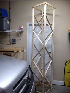 This is one of the 3 faux metal light truss made for the entrance gate to the Colossal Coaster World VBS. We made with wood 1X1 and 1X2s and spray painted metallic silver. 2 trusses were 9 ft and the cross truss was 14 ft.