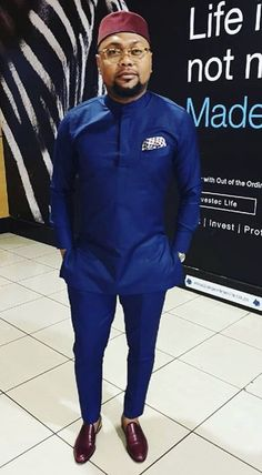 Blue Mens Clothing/ Prom Men/ African Print Clothing/ Wedding guest outfit/ African Groom/ Grooms me African Attire For Men, African Clothing For Men, African Wear, African Style, African Dress, Nigerian Outfits, Nigerian Men Fashion, African Men Fashion, Nigerian Traditional Attire