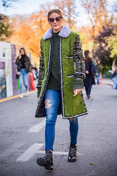 Olivia Palermo is seen after the Moncler Gamme Rouge show during Paris Fashion Week Womenswear SS18 on October 3 2017 in Paris France