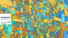 Bandung,Indonesia, Colorful Vector Artmap. Blue-Orange-Yellow Version for Website Infographic, Wall Art and Greeting Card Backgrounds. [content_desc... ... #map #stockimage #colorsful #background #vector #design #art