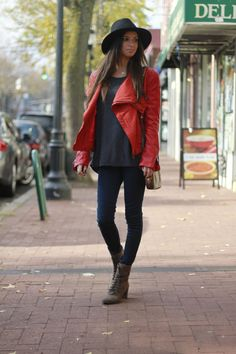 New on the blog..#redleatherjacket #brimmhat #flyingmonkeyjeans #vintagelouisvuittonbag #vincecamutocombatboots #blogger #fashionblog #fallstyle #fashionroll #streetstyle