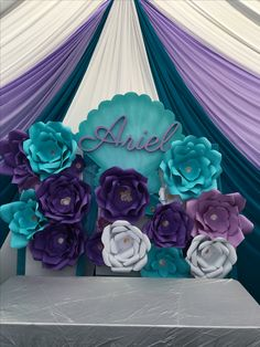 Ariel Little Mermaid Paper Flower backdrop Birthday Party decoration Little Mermaid Baby, Little Mermaid Parties, Mermaid Theme Birthday, Little Mermaid Birthday, 4th Birthday Parties, Birthday Party Decorations, Birthday Ideas, Mermaid Baby Showers, Flower Backdrop