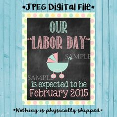 Printable Chalkboard Pregnancy Reveal // Pregnancy Announcement // Labor Day // We're Pregnant // Labor