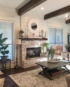 81 Awesome Farmhouse Fireplace Design Ideas To Beautify Your Living Room – Farmhouse Room Home Fireplace, Fireplace Design, Fireplace In Dining Room, Fireplace Ideas, Brick Fireplace Makeover, Brick Fireplace Decor, White Wash Brick Fireplace, Rustic Fireplaces, Living Room Layout With Fireplace And Tv