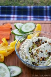 Lightened zucchini dip served with fresh, crunchy veggies. A no-fuss snack, perfect for picnics. Raw, vegan and grain & dairy free.