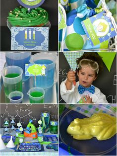 Mad Science birthday party ideas with DIY decorations, and incredible desserts table, printables, party favors and games! - via BirdsParty.com @birdsparty
