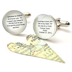 Wedding Vows Cufflinks. Customizable for You and Made to Order