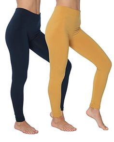 Active Club Solid Color Brushed Fleece Tights Leggings 1…
