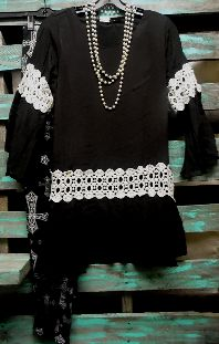 Going Out In Style Vintage Black Crochet Shirt