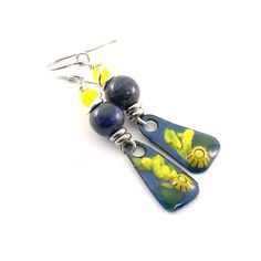 Blue With Yellow Flower Earrings  Silver by CinLynnBoutique