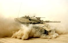 Merkava Mk 3D rushing through dust