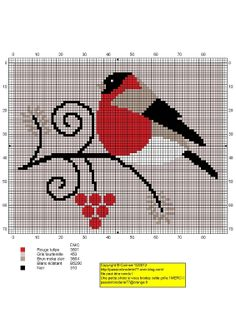 i'm thinking of stitching this on a Christmas tree skirt! Cross Stitch Bird, Cross Stitch Animals, Cross Stitch Charts, Cross Stitch Designs, Cross Stitching, Cross Stitch Embroidery, Cross Stitch Patterns, Cross Stitch Freebies, Needlework