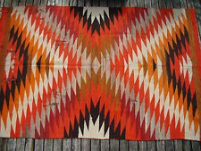 Antique Native American Indian Navajo Rug Large Early Navaho weaving 5X8