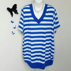 """Blue & White Striped Top This blue and white striped top has short sleeves, v-neck, cute loosely ruched sides, and a banded bottom. Material is polyester / spandex blend.  Size: 22W/24W Bust: Approximately 53"""" Length: Approximately 31.5""""  New without tags. Faded Glory Tops"""