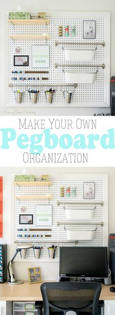 Organization and Display- Make your own giant pegboard to store office supplies, craft supplies, or cleaning supplies.Pegboard Organization and Display- Make your own giant pegboard to store office supplies, craft supplies, or cleaning supplies. Pegboard Organization, Office Supply Organization, Pegboard Display, Organization Ideas, Office Storage, Bedroom Organization, Scrapbook Room Organization, Stationary Organization, Hallway Storage
