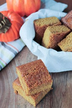 Pumpkin Maple Cornbread - a little sweet and super moist. Tastes almost more like cake than cornbread. Perfect for Thanksgiving or next to a bowl of soup or chili! It even makes a great snack. Can easily be made into muffins. Vegan and oil free! #cornbread #pumpkin #maple #thanksgiving #autumn #fall #oilfree #dairyfree #vegan #halloween Vegan Snacks, Vegan Desserts, Vegan Recipes, Dessert Recipes, Vegan Food, Fall Recipes, Bread Recipes, Healthy Food, Eating Vegan