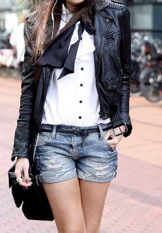 leather jacket jean shorts