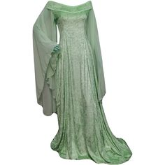 Mint medieval wedding dress, elven gown, off the shoulder gown, elven... (800 BRL) ❤ liked on Polyvore featuring dresses, long chiffon dress, prom dresses, green bridesmaid dresses, long green dress and green prom dresses
