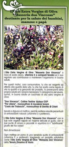 """.L'Olio Extra Vergine di Oliva """"Masseria Don Vincenzo"""" destinato per la salute dei bambini, mamme e papà"""