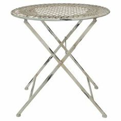"Showcasing a distressed finish and openwork design, this charming bistro table is perfect beside your sofa or on the three-season porch.  Product: Bistro table   Construction Material: MetalColor: WhiteFeatures: Distressed finishDimensions: 29"" H x 26.75"" Diameter"