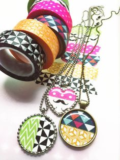 DIY - Washi tape jewelry. With Epiphany Crafts tool. Parlverkstan.se