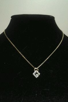 Vintage Gold Estate Givenchy Haute Couture Initial G Rhinestone Chain Necklace #Givenchy #Chain