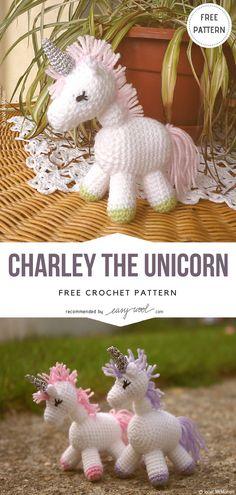 Charley The Unicorn Free Crochet Pattern on Easywool.com #freecrochetPatterns #amigurumiowl #freepattern #crochetfreepatternforbaby #crochetbabyblanket #crochetstitch #crochettoy #unicorn #babyunicorn #crochetunicorn