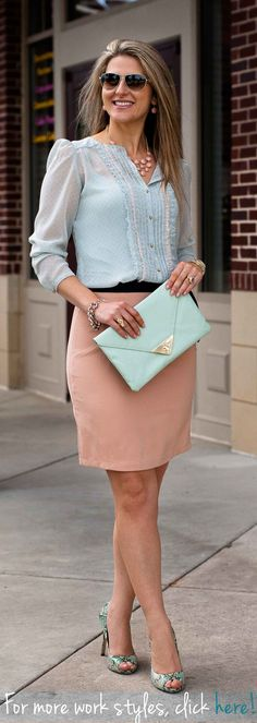 #Pastel #fashion for the #office. For more #work and #professional inspired #style, visit TeodoraB.com. (#Skirt - $38)