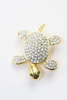 Signed+JOAN+RIVERS+Vintage+Brooch+Pin+Crystal+Rhinestone+Turtle+Figural++