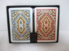 Vintage KEM Playing Cards Arabesque Double Deck Flat Case 1960 Blue Coral