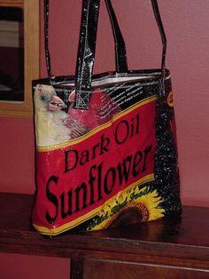 Make a bird seed bag grocery tote!