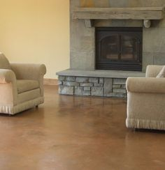 Living Room, Brown, Fireplace Brown Floors Kent Magnell Concrete Artisan Santa Rosa, CA Acid Wash Concrete, Stained Concrete, Concrete Floors, Acid Stain, Floor Design, House Design, Florida Design, Living Room Photos, Lakefront Homes