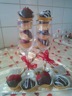 Cherry Brandy & Chocolate Cookie Truffles and Strawberries dipped in Chocolate