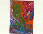 Etsy Lush , Tangerine Tango Carnival Hippie Colors Original Painting Artist Miniature ACEO 016 Orange Red Green Blue