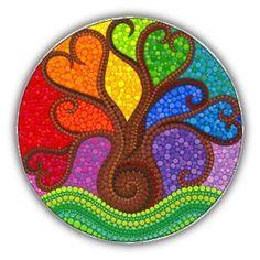 rainbow tree mandala Tree of Life art mandala art spiritual gifts Tree of Light spiritual art gifts under 40 meditation tree mandala pagan Mandala Art, Mandala Rocks, Mandala Painting, Mandala Design, Tree Of Life Art, Tree Art, Dot Art Painting, Stone Painting, Cd Art
