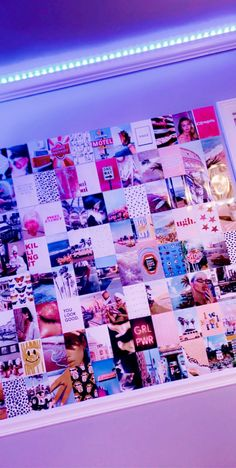 Neon Bedroom, Cute Bedroom Decor, Teen Room Decor, Room Ideas Bedroom, Bedroom Inspo, Collage Mural, Bedroom Wall Collage, Pic Collage Ideas, Photowall Ideas