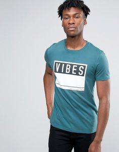Image 1 - ASOS - T-shirt à imprimé Vibes - Bleu sarcelle