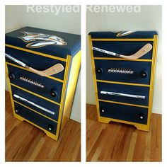 We are so excited about the Nashville Predators playing for the Stanley Cup this year! So in honor of that I created this chest using a hockey stick and pucks Boys Hockey Room, Hockey Room Decor, Hockey Mom, Boy Room, Kids Room, Predators Hockey, Hockey Crafts, Hockey Pictures, Kids Dressers