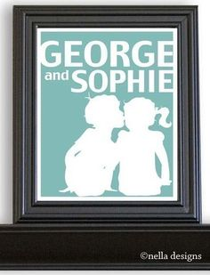 Custom Personalized Children's Silhouette Print $20.00, via Etsy.