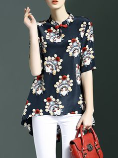 Casual Short Sleeve Printed Silk High Low Tunic