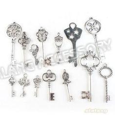 Livraison gratuite en alliage de zinc charmes clés assorties 42pcs/lot antique ton argent pendentif en métal