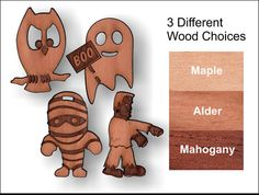 4 Pack decorative wooden charms 1.5 inches tall by SandHonEtsy, $9.87