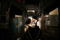 vintage train engagement shoot- the perfect thing to whet your appetite for a posh steampunk wedding!
