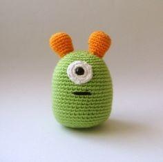 nursery  toy plush  alien amigurumi. $28.00, via Etsy.