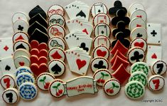 The ultimate casino night, game night, birthday party Mega pack of hand decorated sugar cookies.  63 Hand Decorated Sugar cookies- Including the following:  4 x 5 Hand of Cards Cookies 6 x 3 Poker Chip cookies in royal blue and green 4 x 2.5 Red Heart cookies 4 x 2.5 Red Diamond cookies 4 x 2.5 Black Spade cookies 4 x 2.5 Black Club Cookies 4 x 3 Single Ace Cookies with red/black borders 4 x 2.5 Square or round with Number 7 cookies 8 x 2.5 Round cookies with heart, diamond, spade…