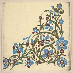 Design for a Floral pattern ~ although ca1883, I see the early origins of the Art Nouveau style beginning here, in the work of Christopher Dresser, with the formal yet fluid arrangement of simple, almost stencil-like forms and lovely, very feminine shades of colors