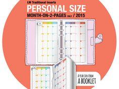 2015 MO2P Personal/ month-on-2-page / traditional by DIYfish  Kätevä värikoodaus, viikkonumerot ja joka kuukaudelle asteikko täytettäväksi (5x1-5)