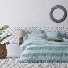 Home Republic - Taho Quilt Cover Set Duck Egg - Adairs Online